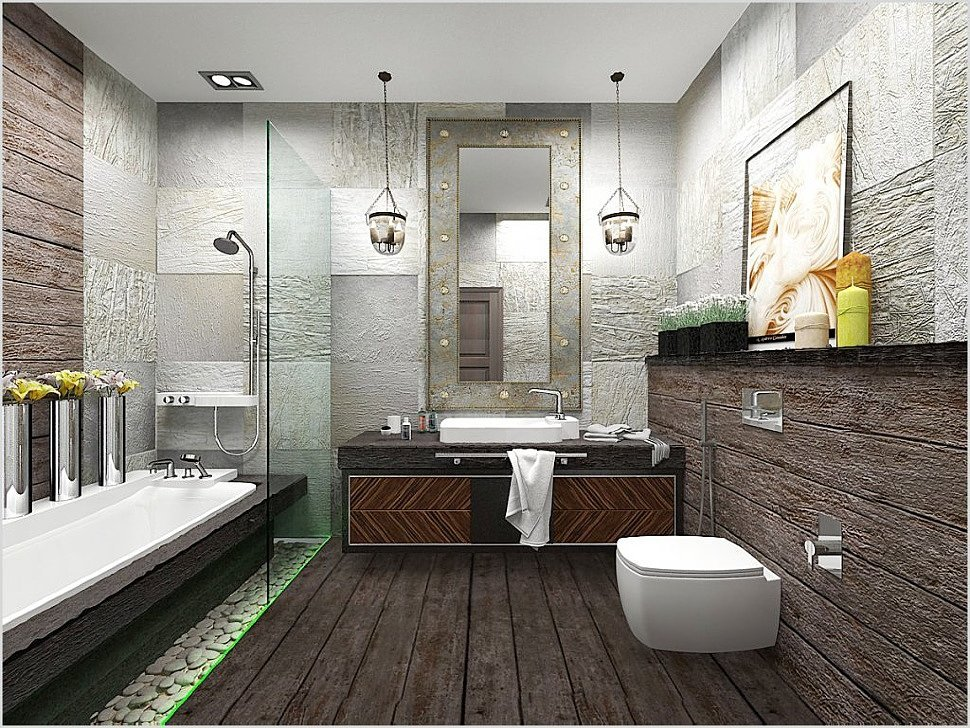 плитка в ванную в стиле лофт